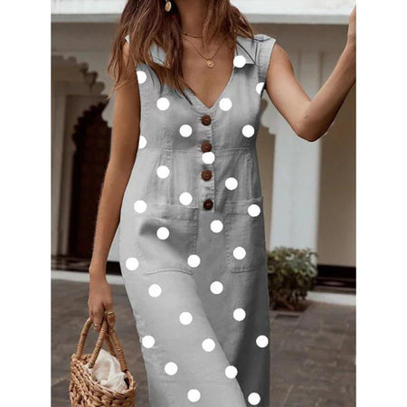 Polka Dot V Neck Sleeveless Buttons Pockets A-line Plus Size Dress