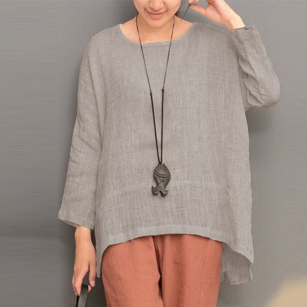 Women Irregular Hem Long Sleeve O-neck Loose T-shirts