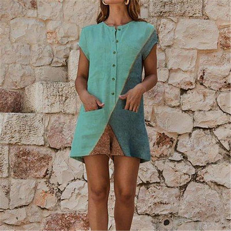Casual Splicing Round Neck Short Sleeve Jumpsuits