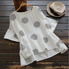 Women Fashion Half Sleeve Vintage Side Split Polka Dot T-Shirts
