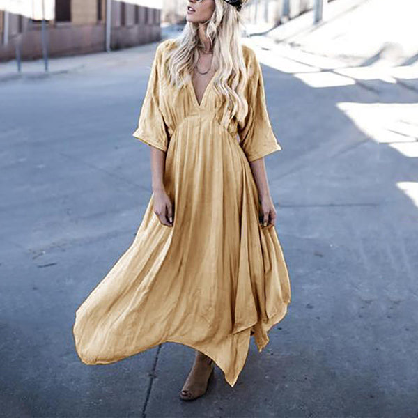 Bohemia Sexy V-neck Solid Maxi Dress