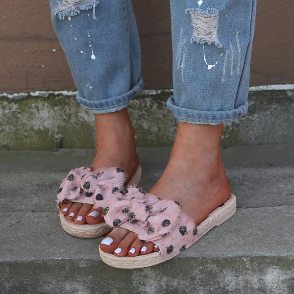 Fashion Bow Dot Fisherman Flat Bottom Sandals