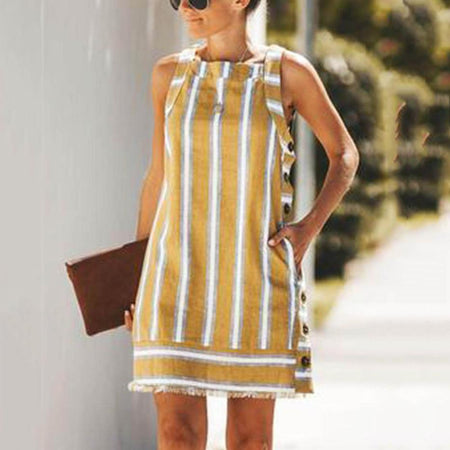 Striped Button Sleeveless A-line Dress