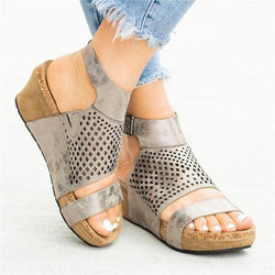 Adjustable Buckle Wedge Open Toe Sandals