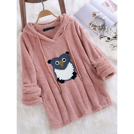V-Neck Owl Printed Hoodies