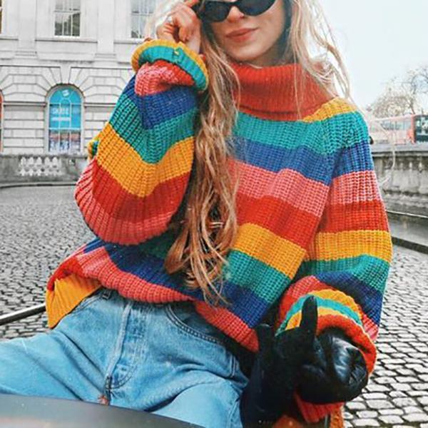 Casual High Neck Rainbow Pattern Sweater