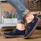 Women's Suede Casual Flat Heel Lace-up Shoes