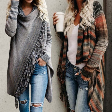 Women Irregular Tassel Vintage Fringed Blanket Cardigan&Coat