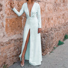 Sexy V Neck Solid Color Casual Slit Maxi Dress