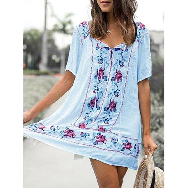 Printed Short Sleeve V-Neck Mexican Dress