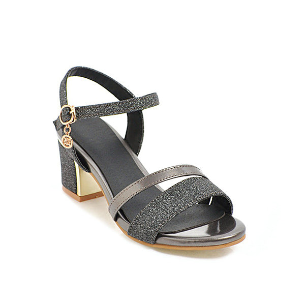 Women Buckled Dazzling Glitters Slingback Sandals