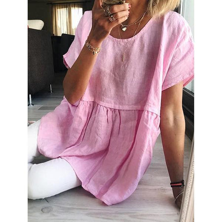 Women Casual Short Sleeve Solid Color Blouse