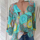 Fashion 3/4 Sleeved  Dense Flower Printed Blouse