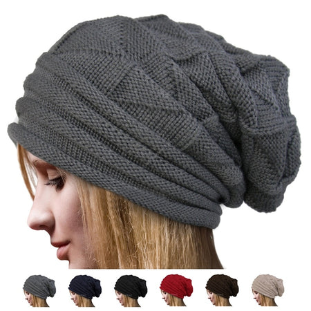 European Style Knit Crochet Solid Warm Baggy Beanie Hat Slouch Cap