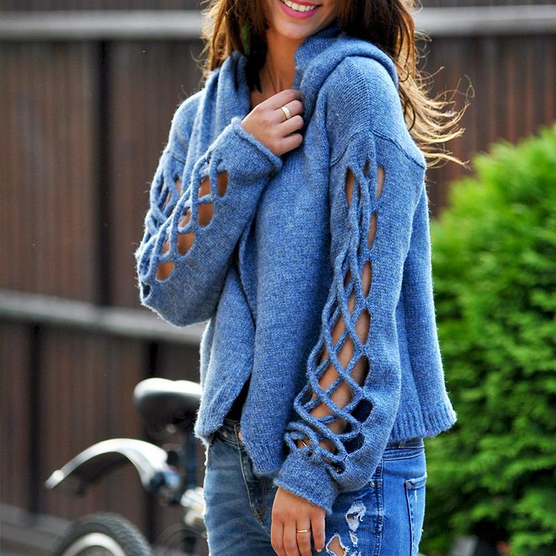 Knitted Long Sleeve Hoodie Hollow-out Sweaters