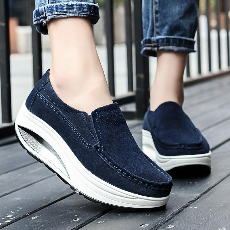 Breathable Suede Round Toe Slip On shake Shoes