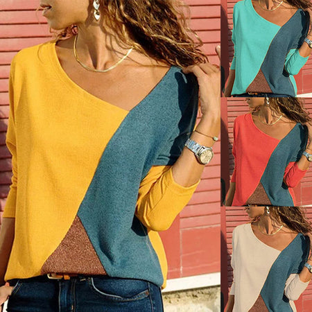 Long Sleeve Patchwork Vintage V-Neck Color Block T-Shirts