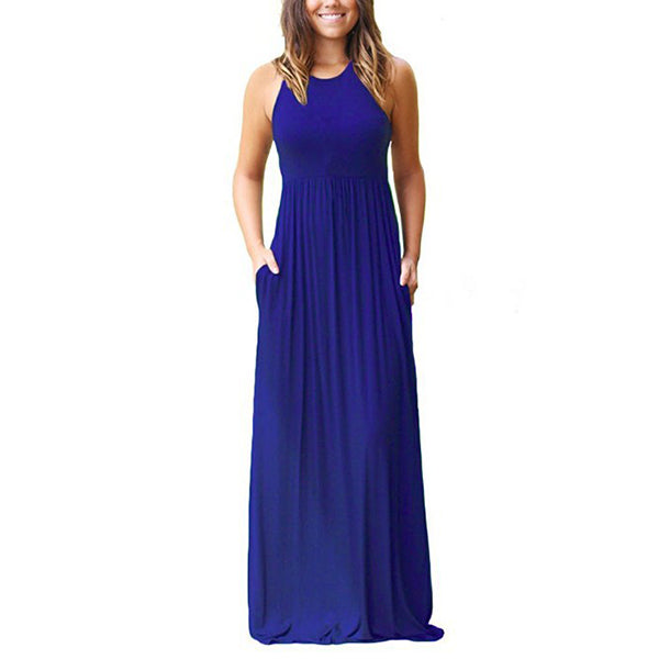 Womens Sleeveless High Waist Round Neck Maxi Dress