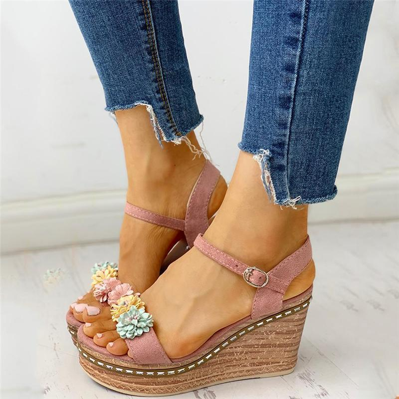 Adjustable Buckle Wedge Sandals