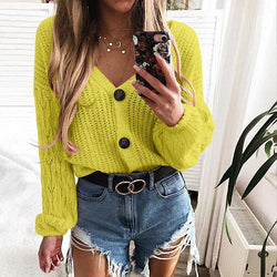 V-Neck Single Buckle Loose Knitting Sweater