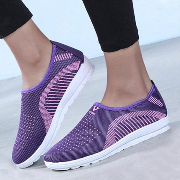 Women Breathable Flat Round Toe Casual Sport Sneakers