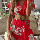 V Neck Bohemian Printed Dress