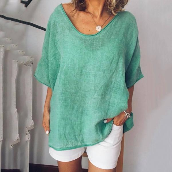 Plus Size Solid Color Loose Casual Blouse