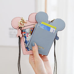 Cute Animal Shape Card Holder Wallet Purse Neck Wallet Lanyard Wallet