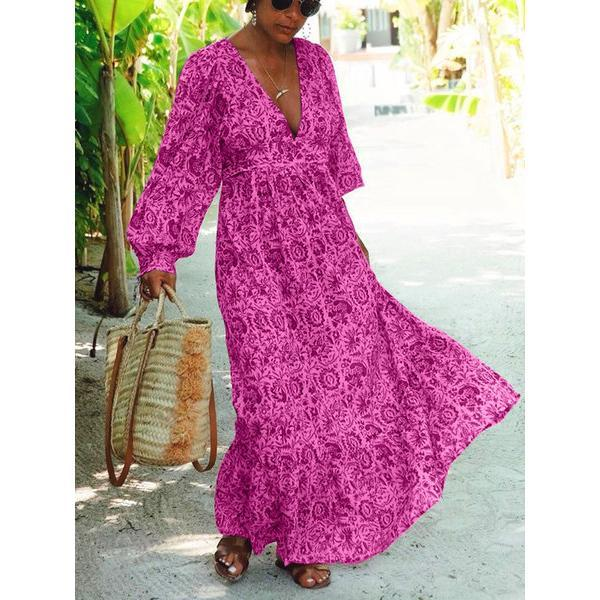 Long Sleeve Temperament V-Neck Maxi Dress