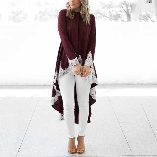Women Casual Long Sleeve Irregular Hem Blouse