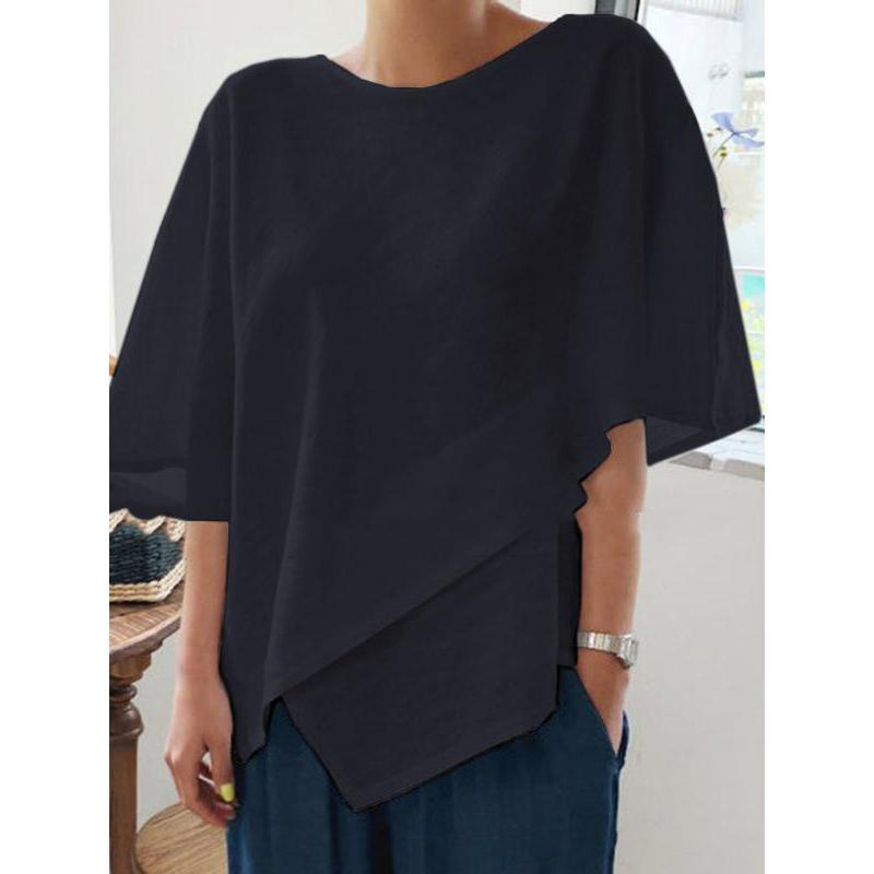 Women Asymmetric Linen Blouse Crew Neck Plain Shirt