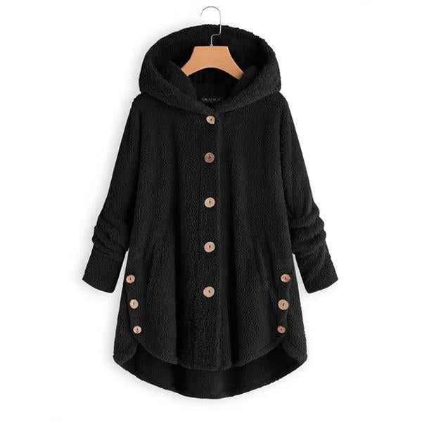 Long Sleeve Fleece Hooded Fuzzy Asymmetrical Hem Button Coat