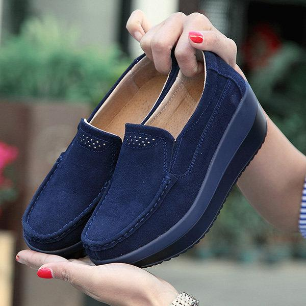 Large Size Rocker Sole Suede Slip On Casual Shoes