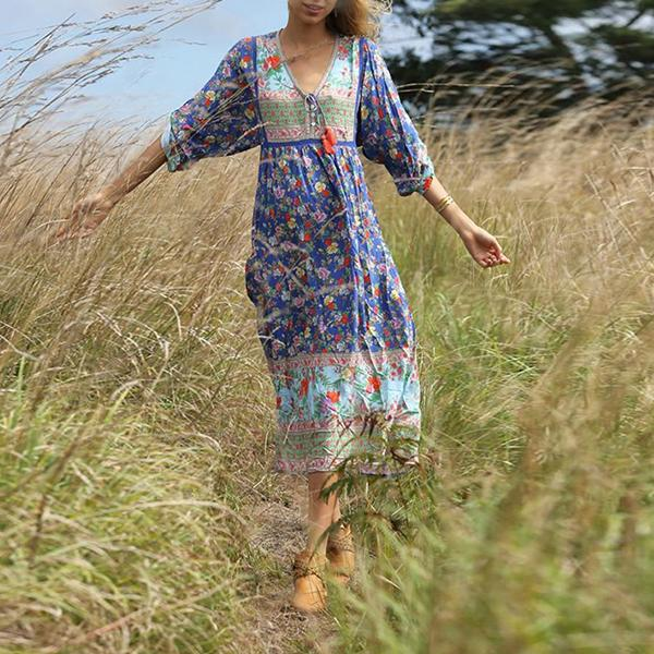 FashionV-Neck Long Sleeve Print Dress
