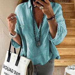 3/4 Sleeve V Neck Solid Color Loose T-Shirt