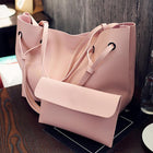 2PCS High Capacity PU Shoulder Bag with Mini Clutch Purse