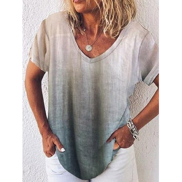 Short Sleeve Gradient V Neck Casual T-Shirt