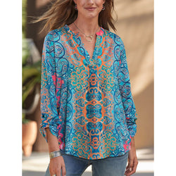 Bohemian Printed V-Neck Long Sleeve Shirt