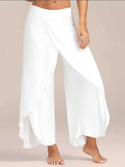 Casual Loose High Slit Flowy Layered Wide Leg Yoga Pants