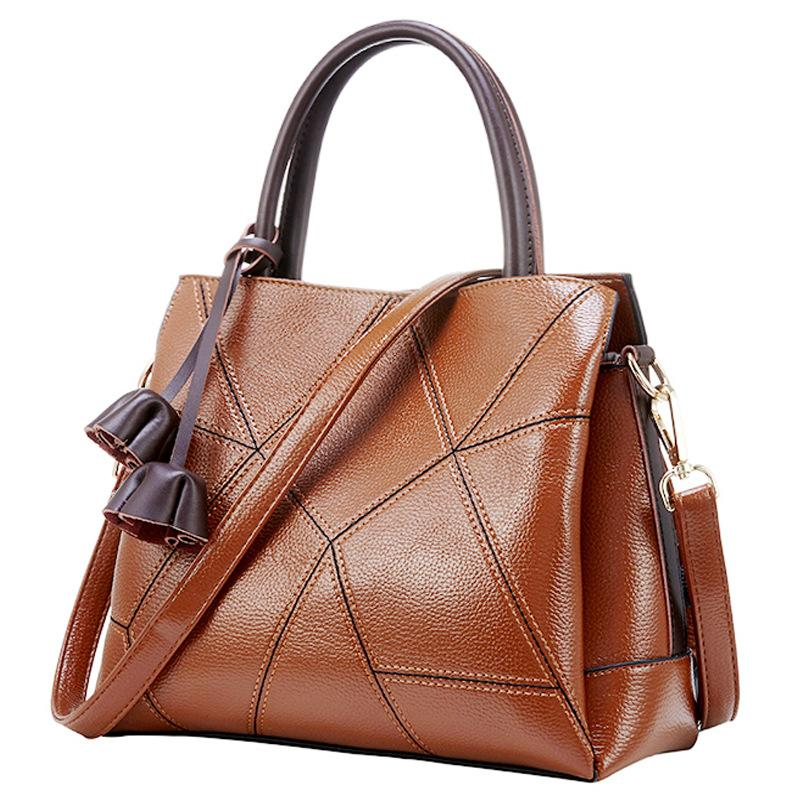 Classic Genuine Leather Plaid Handbag