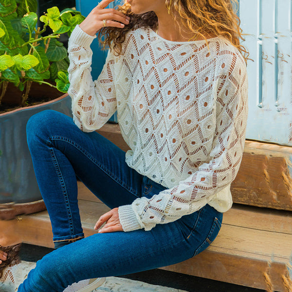 Fashion Hollow-out Solid Color Casual Loose Blouses