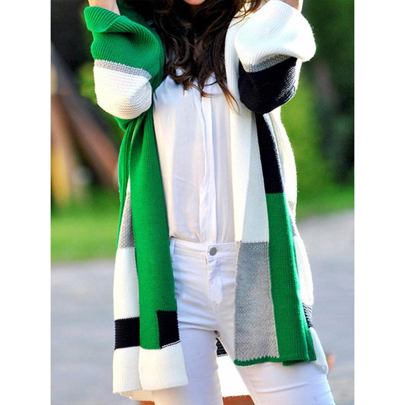 Knitted Long Sleeve Patchwork Hoodies Plus Size Sweaters