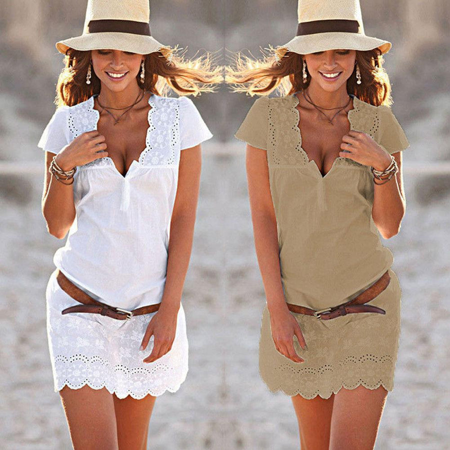 V Neck Hollow Out Plain Short Sleeve Casual Dresses