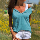 Fashion V Neck Cotton Hemp Short Sleeve T Shirt
