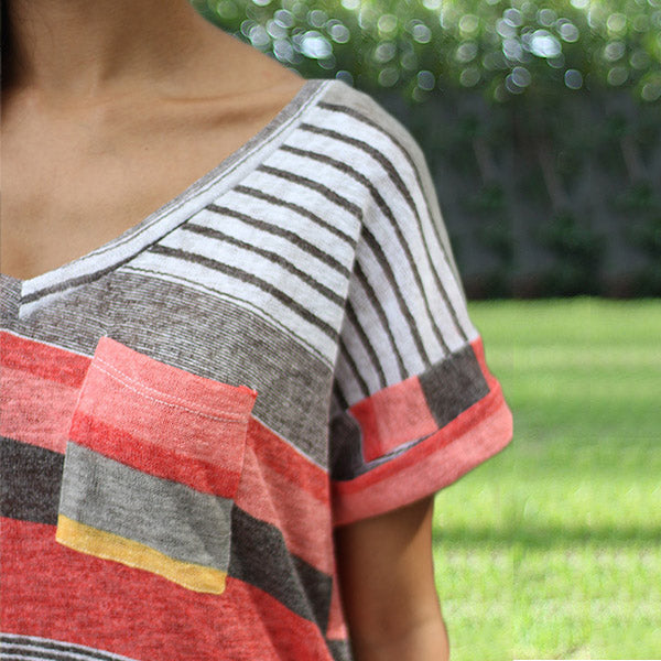 Women V-Neck Printed Striped Short-Sleeved T-shirt Top