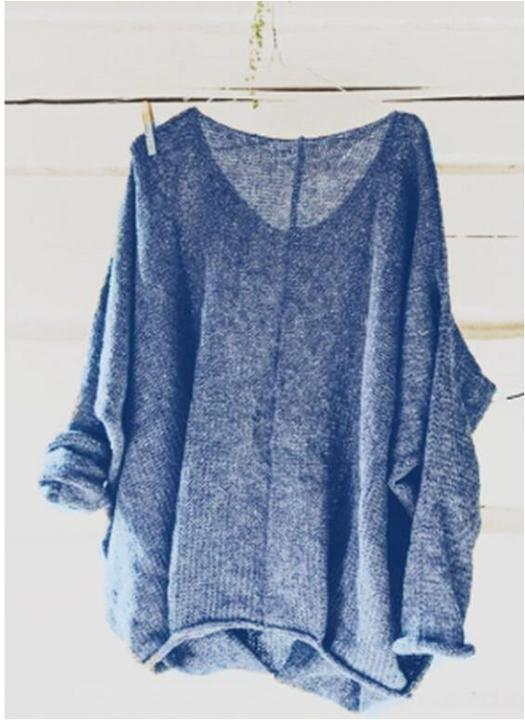 Casual Solid Knitted V-Neck Shirt