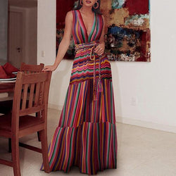 Sexy V Neck Stripe Maxi Dress