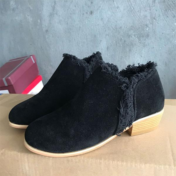 Women Faux Suede Slip-on Ankle Boots