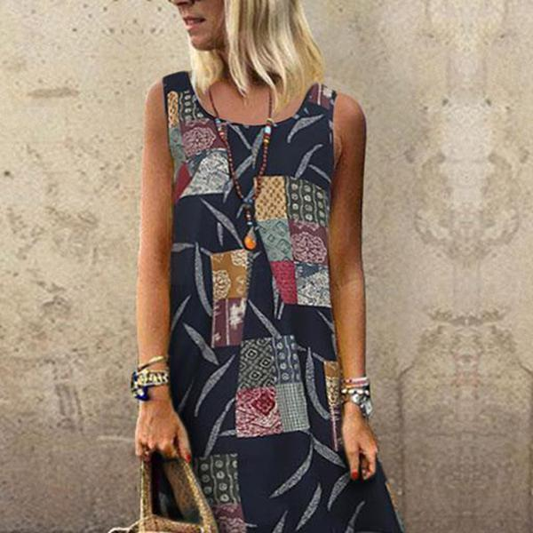 Casual Round Neck Sleeveless Print Sling Dress
