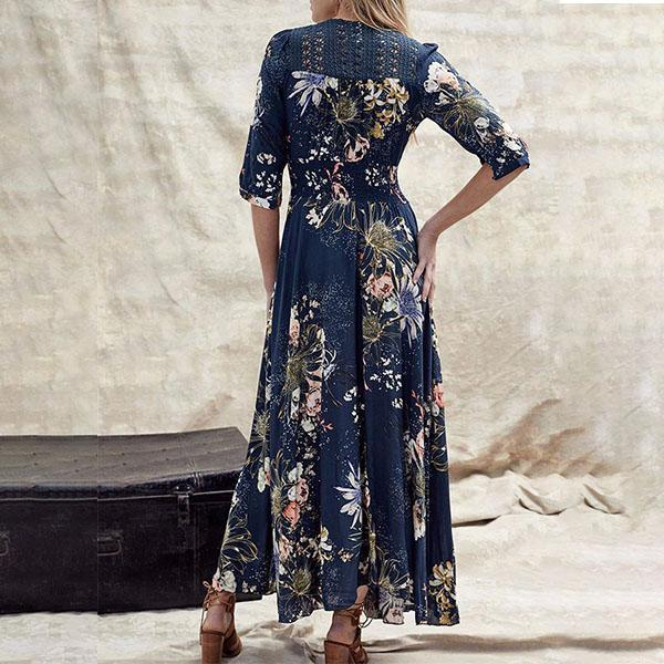Bohemian Print V-Neck Button Maxi Dress